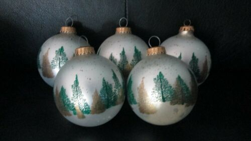 """Set  5 Vintage German 3.5"""" Frosted Glass Ball Ornaments Trees Forest Green Gold"""
