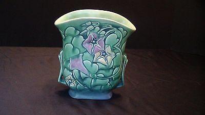A Roseville Green Morning Glory Pillow Vase