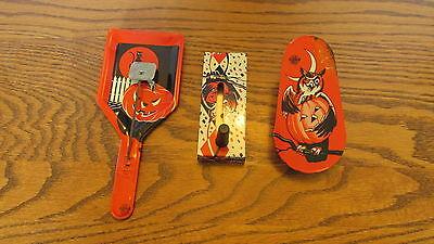 Lot of 3 Vintage metal Halloween noise makers - Owl, Pumpkins, Witch Black Cat