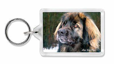 Leonberger Dog 'Love You Dad' Photo Keyring Animal Gift, DAD-68K