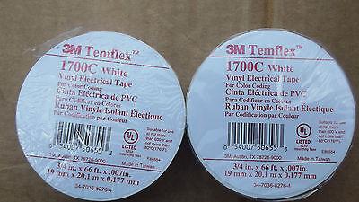 "2 ROLLS OF 3M TEMFLEX 1700 SERIES WHITE VINYL ELECTRICAL TAPE,3/4"" X 66FT.5.4."