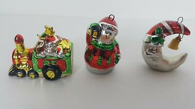 Set 3 Vintage Christmas Tree Ornaments Shiny Metallic Train+Snowman+Moon Small