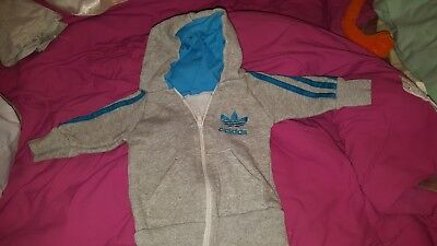 BABY GREY AND BLUE ADIDAS HOODIE AGE ABOUT 6-9 MONTHS