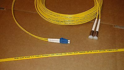 US  MADE  D4  to  LC  Singlemode     Duplex  9/125 Fiber Optic Jumper Cable  15M