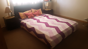 Queen size bed with bed side tables and mattress. Melton West Melton Area Preview