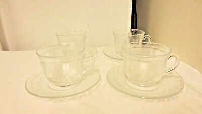 4 Sets Arcoroc Clear Frosted Cups & Saucers- Footed Twist Pattern
