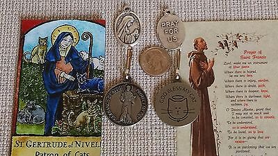 St.Francis Pet Cat Medal /Tag Patron of Animal & St Gertrude medal For Pet Owner