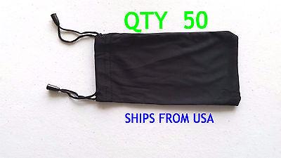 QTY 50 Cheap Bulk Lot Black Micro Fiber Sunglasses Carrying Pouch Dual String