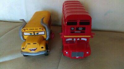 Disney Pixar Cars Diecast Rare Lot of 2 London Bus & Miss Fritter School Bus