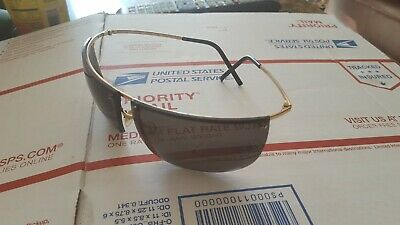 GUCCI VINTAGE RIMLESS SHIELD SUNGLASSES GOLD FRAME WIRE FRAME ITALY