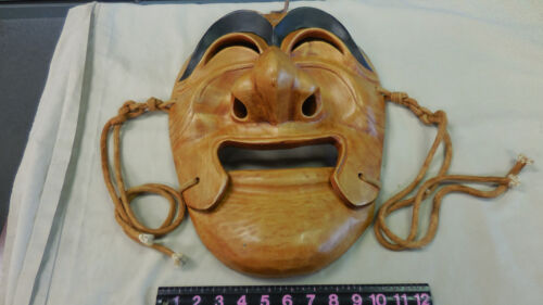 Huge Japanese kabuki Wood Carved Mask With Moveable Mouth