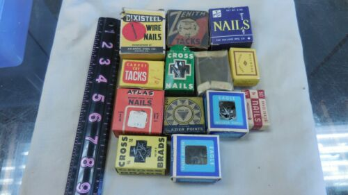 Vintage Group Of Thirteen Early Tacks & Nails In Original Boxes