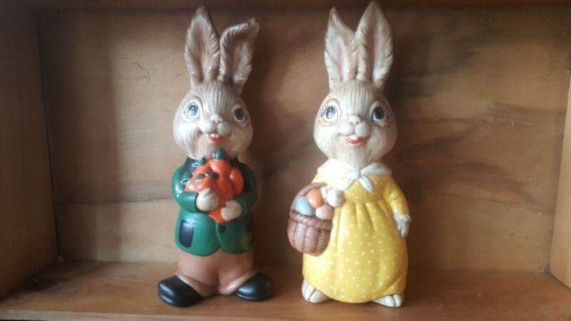 Vintage EASTER BUNNY RABBIT Ceramic Figurines pair