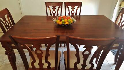 SOLID TIMBER DINING SET TABLE AND 6 HIGH BACK UPHOLSTERED TIMBER
