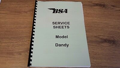 BSA DANDY SCOOTER MOPED 70cc WORKSHOP MANUAL SERVICE SHEETS BW10