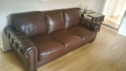 Brown leather lounge suite as new   Norwood Norwood Area Preview