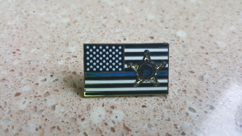 US Secret Service blue line flag/star lapel pin