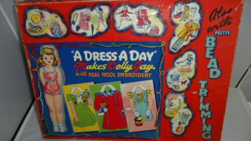 #466 A DRESS A DAY MAKES DOLLY GAY ALSO WITH BEAD TRIMMINGS.