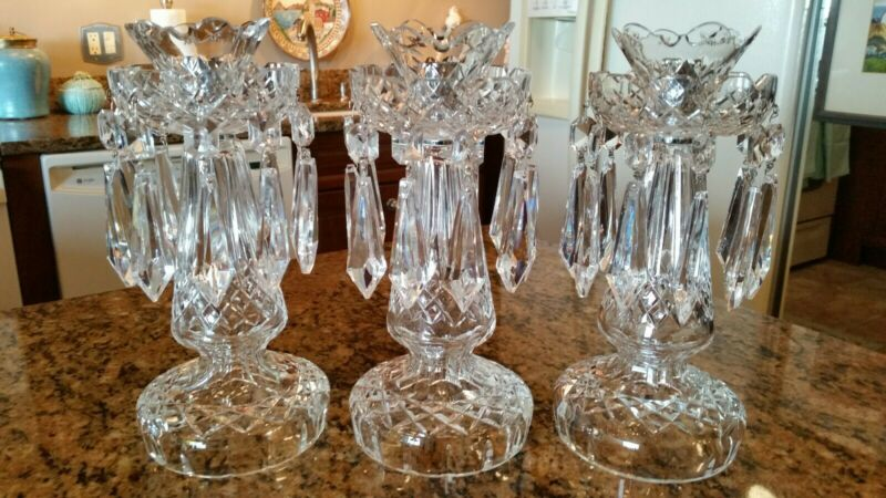 One Waterford Cut Crystal Candelabra Candle Holder 10