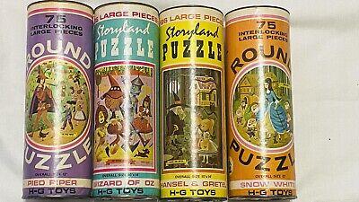 Vtg Storyland Tube Puzzle Snow White Wizard of Oz Pied Piper Hansel & Gretel HG