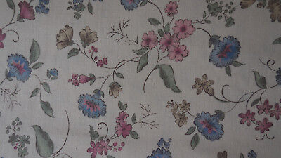 VINTAGE  100% COTTON FABRIC PINK & BLUE FLOWERS ON (TEA) BROWN BACK GROUND  BTY