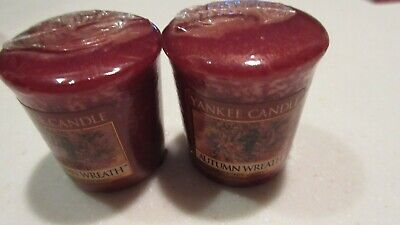 Yankee Candle- AUTUMN WREATH- TWO Votive Samplers Wrapped