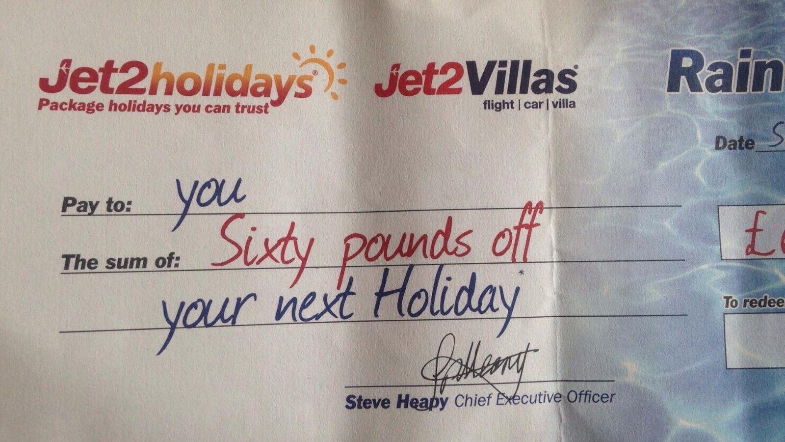 Jet 2 Holidays £60 Rain Cheque voucher OCT 18 GET 7 FREE