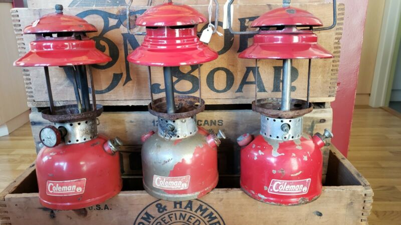 VTG 3 Coleman Red Model 200 Lantern Camping ?/?-7/68-5/69 lot