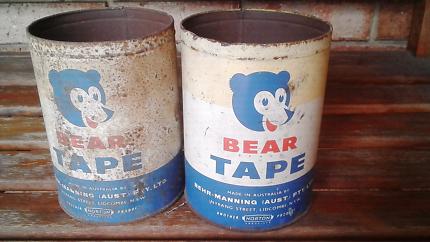 Vintage large bear tape tins enamel sign man cave