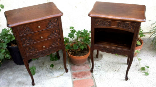 FRENCH COUNTRY PAIR NIGHTSTANDS, HAND CARVED BURNISH FRENCH OAK