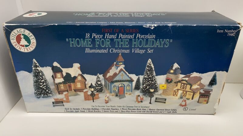 "Vtg Season Specialties ""Home For The Holidays"" Illuminated Christmas Village Set"