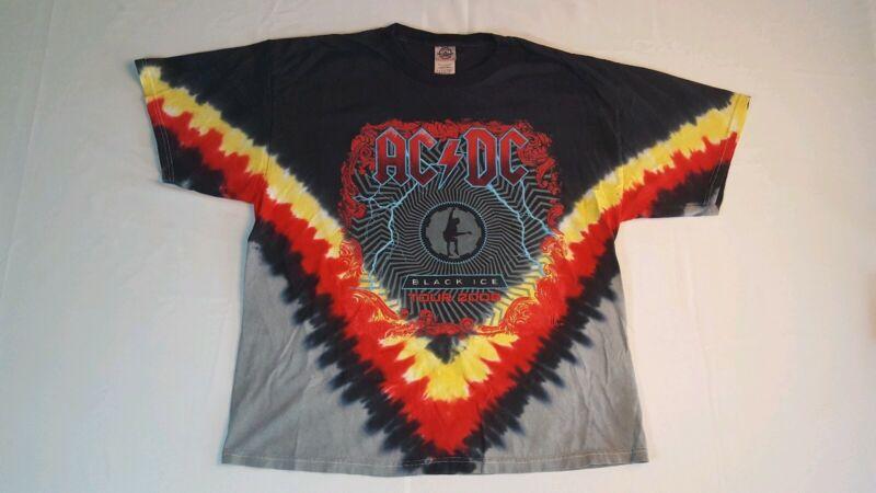 AC/DC Tour T-Shirt Size XL 2008 Black Ice Tie-Dye