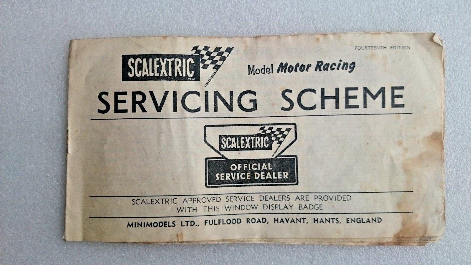 VINTAGE SCALEXTRIC Model Motor Racing Booklet SERVICE DEALER SCHEME 1960s