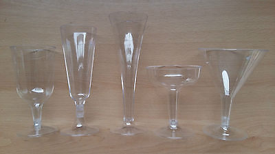 Plastic Wine Champagne Cocktail Martini Glasses Flute Tulip Disposable Party