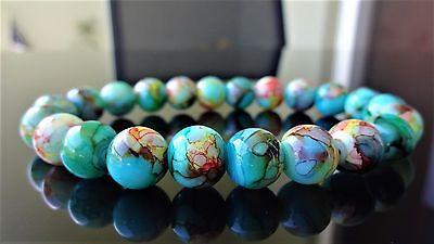 "Multicolor Crackled Gemstone bead bracelet for Men Stretch 10mm 8"" inch AAA"