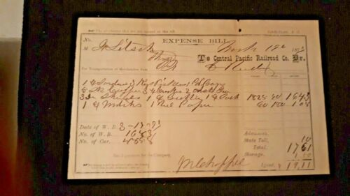 Central Pacific Railroad Co 1877 Expense Bill