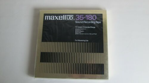"""FACTORY SEALED 10"""" MAXELL UD 35-180 Metal Reel Sound Recording Tape Gold Box NOS"""