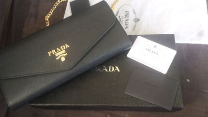 Brand new Prada Saffiano Oro Black Clutch with Gold Chain  Glebe Inner Sydney Preview
