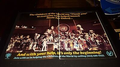 Music For UNICEF ABBA, Bee Gees Rare Original Promo Poster Ad Framed! for sale  Rockledge