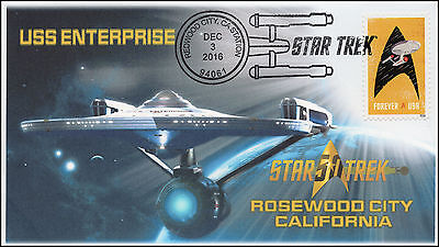 16-384, 2016, STAR TREK, USS ENTERPRISE, PICTORIAL CANCEL, REDWOOD CITY CA