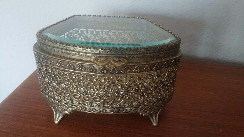 Vintage Gold Matson Ormolu Trinket Casket Beveled Glass Lid NO ISSUES