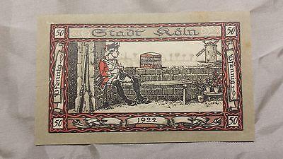 S03 Ein Geldschein Notgeld Köln 1922, 50 Pfennig, Sitzender Soldat