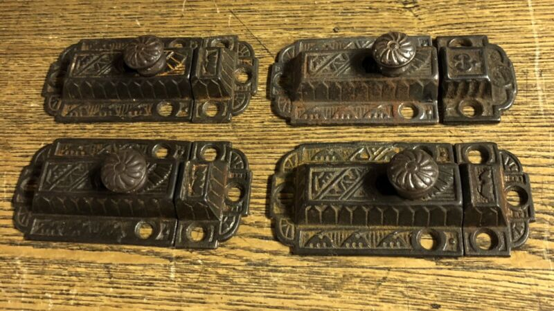 Four Large Matching Antique Fancy Iron Cabinet Latches, c1880's