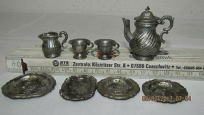 Konvolut altes kleines Geschirr Kaffeeservice Metall  für Puppenhaus Puppenküche
