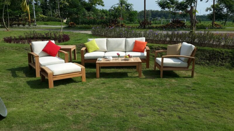 6 Pc Large Teak Wood Garden Indoor Outdoor Patio Sofa Set Furniture Pool Cadras