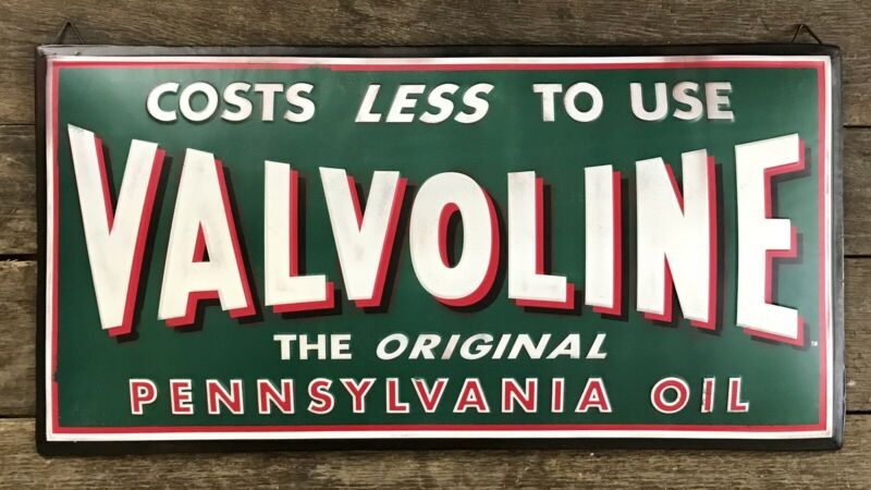 "VALVOLINE ""The Original Pennsylvania Oil"" Embossed Domed Metal Sign, 13""x26"""