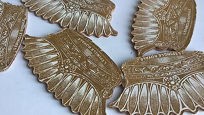VINTAGE SET OF 5 SEWING PIN FANS 1900 or earlier NOS