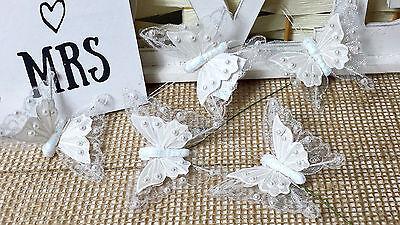 12 Schmetterlinge am Draht creme weiß 7cm Dekostecker Tischdekoration