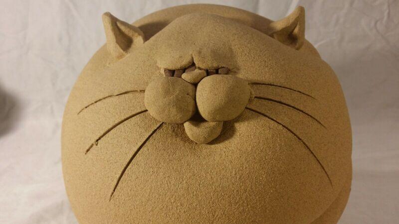 Fat Cat Piggy Bank Art Pottery LARGE