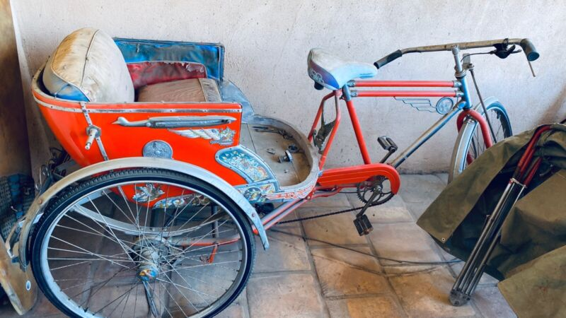 Vintage Rare Oriental Rickshaw Pedicab Bicycle 1940s Complete